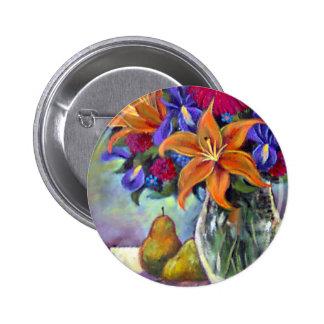 Flower Vase Pears Painting Art - Multi Buttons