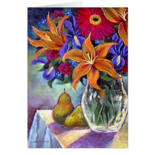 Flower Vase Pears Painting Art - Multi Card