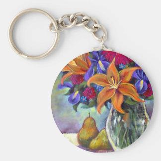 Flower Vase Pears Painting Art - Multi Keychain