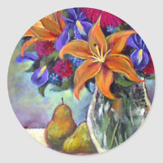 Flower Vase Pears Painting Art - Multi Classic Round Sticker