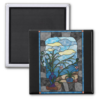 Flower Vase Plant Vintage Stained Glass Style 2 Inch Square Magnet