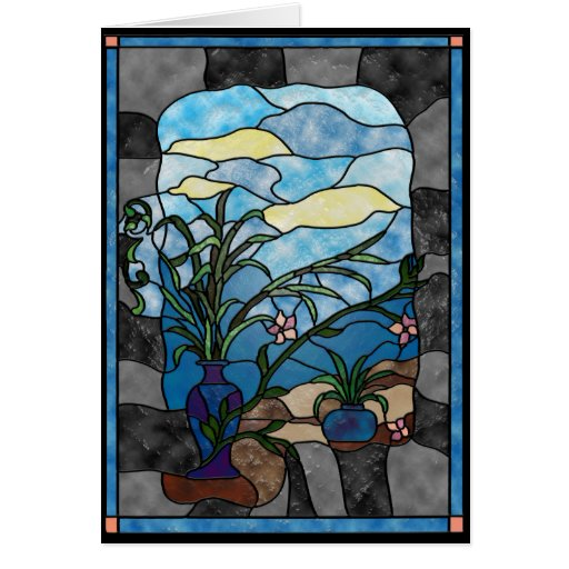 Flower Vase Plant Vintage Stained Glass Style Greeting Card