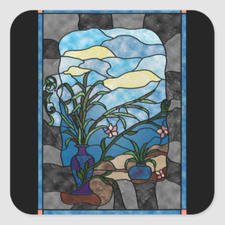 Flower Vase Plant Vintage Stained Glass Style Square Sticker
