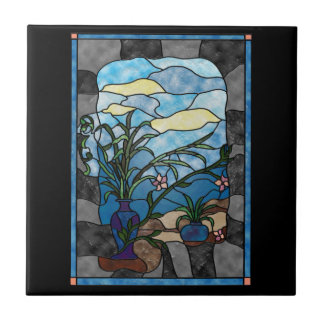 Flower Vase Plant Vintage Stained Glass Style Tiles