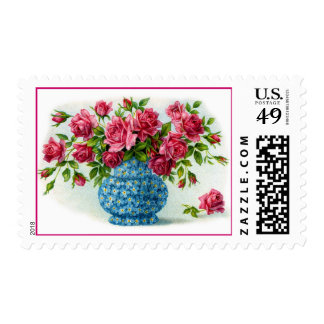Flower Vases with Roses Postage Stamps
