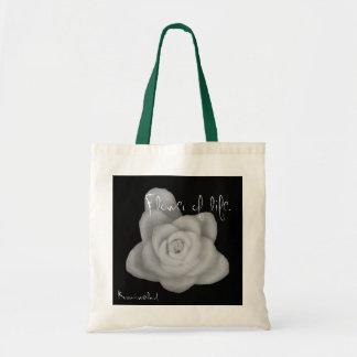 Flower vegetable leaf simple black monochrome phot tote bag
