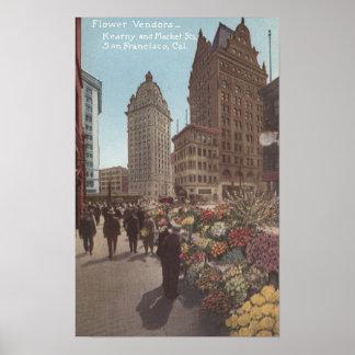 Flower Vendors, Kearny & Market Streets Poster