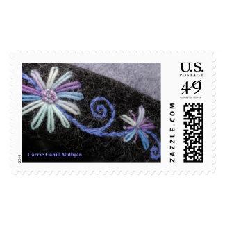 Flower&VineIceBlue Postage