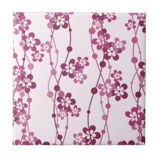 Flower Vines in Pink Ceramic Tile