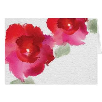 Flower watercolor blank note card. card