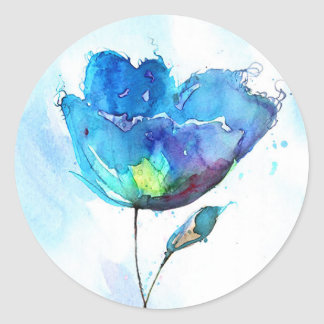 Flower watercolor classic round sticker
