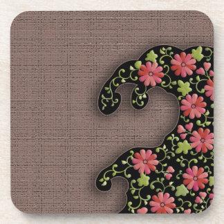 Flower wave japanese pattern beverage coaster