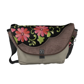 Flower wave japanese pattern messenger bag