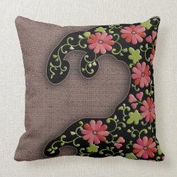 Flower wave japanese pattern throw pillows