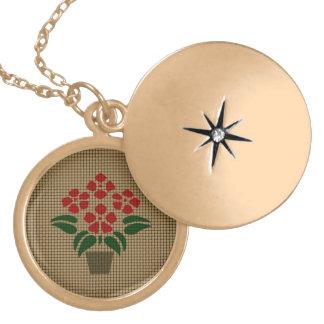 Flower Weave-Like Locket Necklace