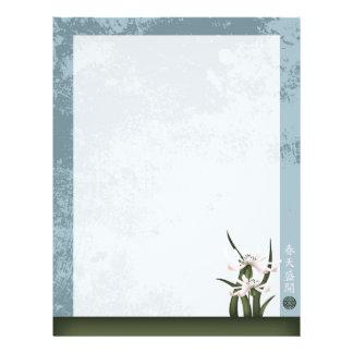 """Flower white blue 'Spring bloom"""" 8.5"""" X 11"""" Flyer"""