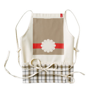 Flower White on Red Band Zazzle HEART Apron