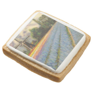 Flower Windmill Fine Art Triptych image 2 of 3 Square Shortbread Cookie