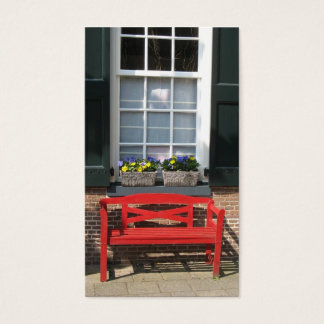 Flower Windows & Red Bench Small Photo Card