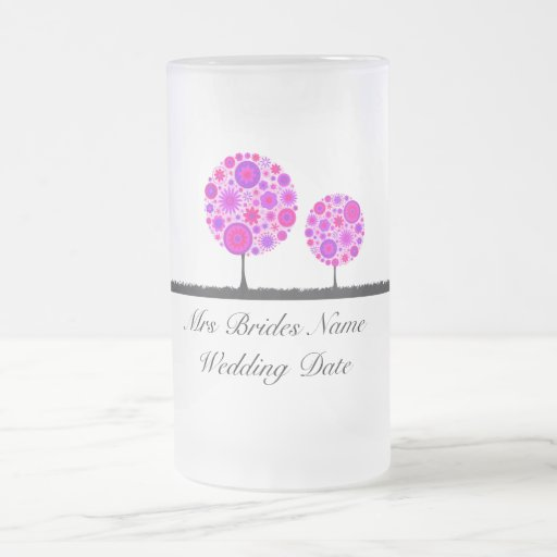 Flower Wishing Tree Purple Brides Wedding Glass 16 Oz Frosted Glass Beer Mug