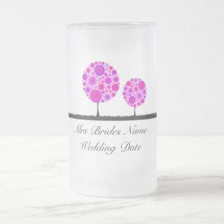 Flower Wishing Tree Purple Brides Wedding Glass Coffee Mug