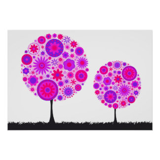 Flower Wishing Tree Purple Poster
