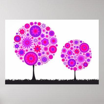 Flower Wishing Tree Purple Posters