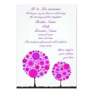 Flower Wishing Tree Purple Wedding Invitation