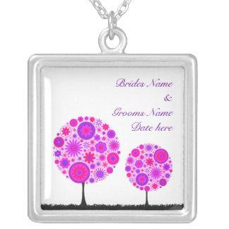 Flower Wishing Tree Purple Wedding Necklace