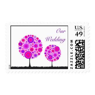 Flower Wishing Tree Purple Wedding Postage Stamp