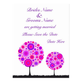 Flower Wishing Tree Purple Wedding Save The Date Postcard