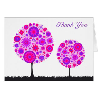 Flower Wishing Tree Purple Wedding Thank You Card