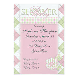 Flower with Checkerboard in Pink - Green Baby Show 5x7 Paper Invitation Card