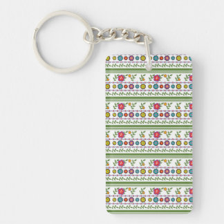 Flower with diamond shape,leaves and lines pattern keychain