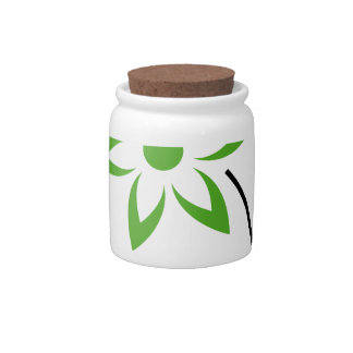 Flower with green leaves and petals candy jar