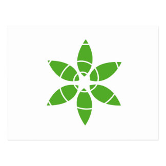 Flower with green leaves postcards