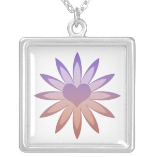 Flower with heart center in purple, pink, tan square pendant necklace
