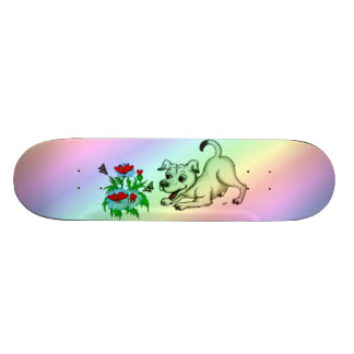 Flower with Heart, Puppy & Butterfly Skateboard