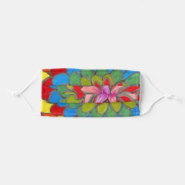 Flower with multicolored petals cloth face mask
