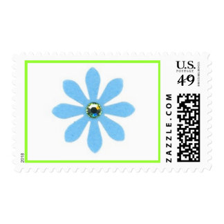 flower with rhinestone center teal and lime postage