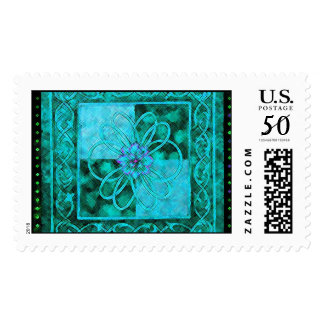 Flower with Trellis Border Postage Stamps