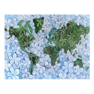 Flower World Map Postcard