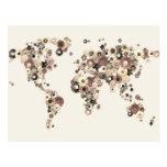 Flower World Map Sepia Postcard