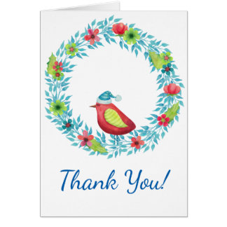 Flower Wreath and Red Bird Winter Thank You Card