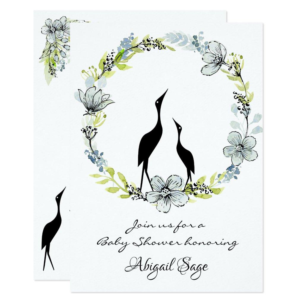 Flower Wreath and Water Birds Baby Shower Invite