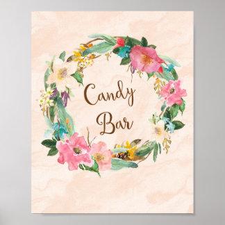 Flower Wreath Candy Bar Wedding Poster Print