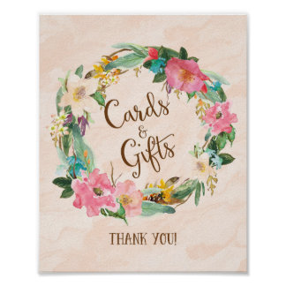 Flower Wreath Cards and Gifts Wedding Poster Print