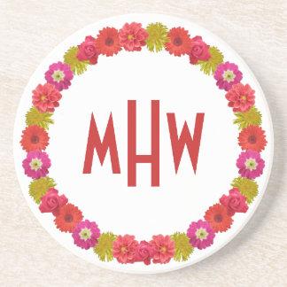 Flower Wreath custom monogram coaster