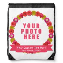 Flower Wreath custom photo & text backpack