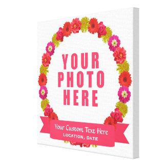 Flower Wreath custom photo & text canvas print